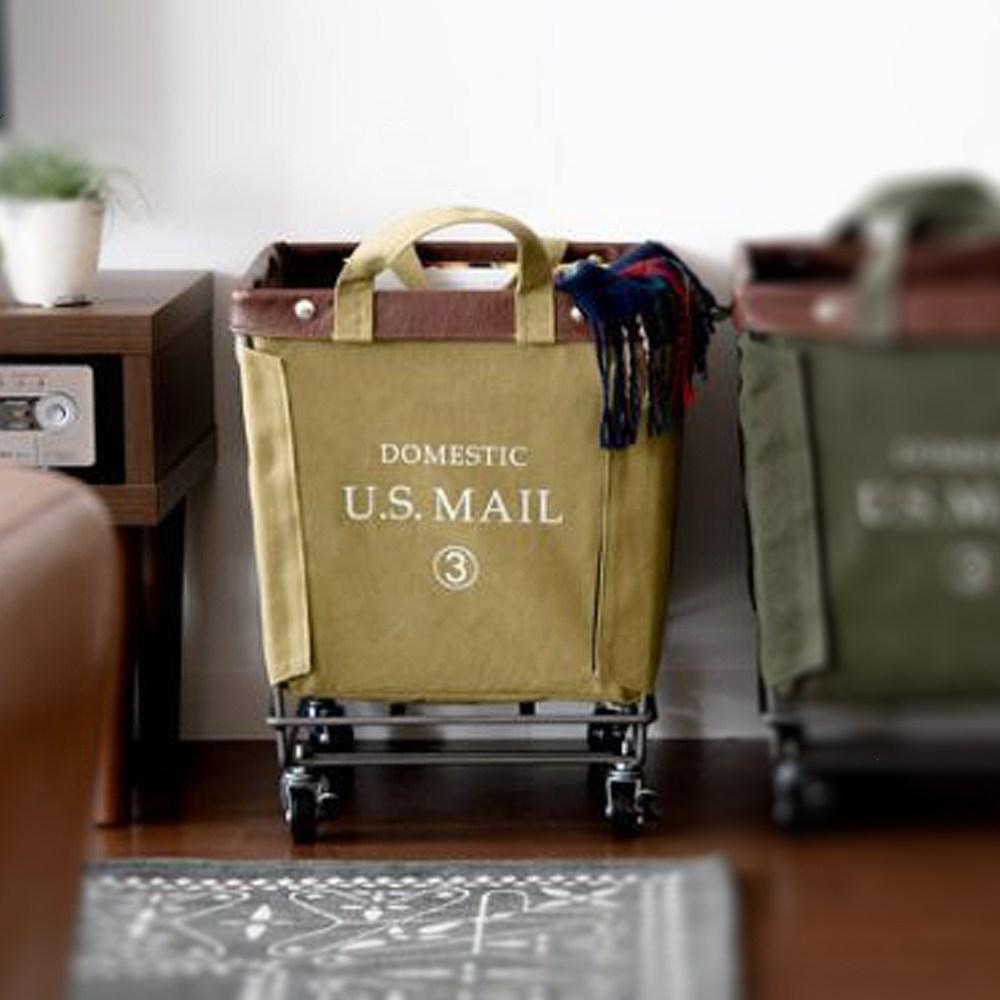 【收納職人】U.S.MAIL美式仿舊個性置物籃收納推車-麻黃