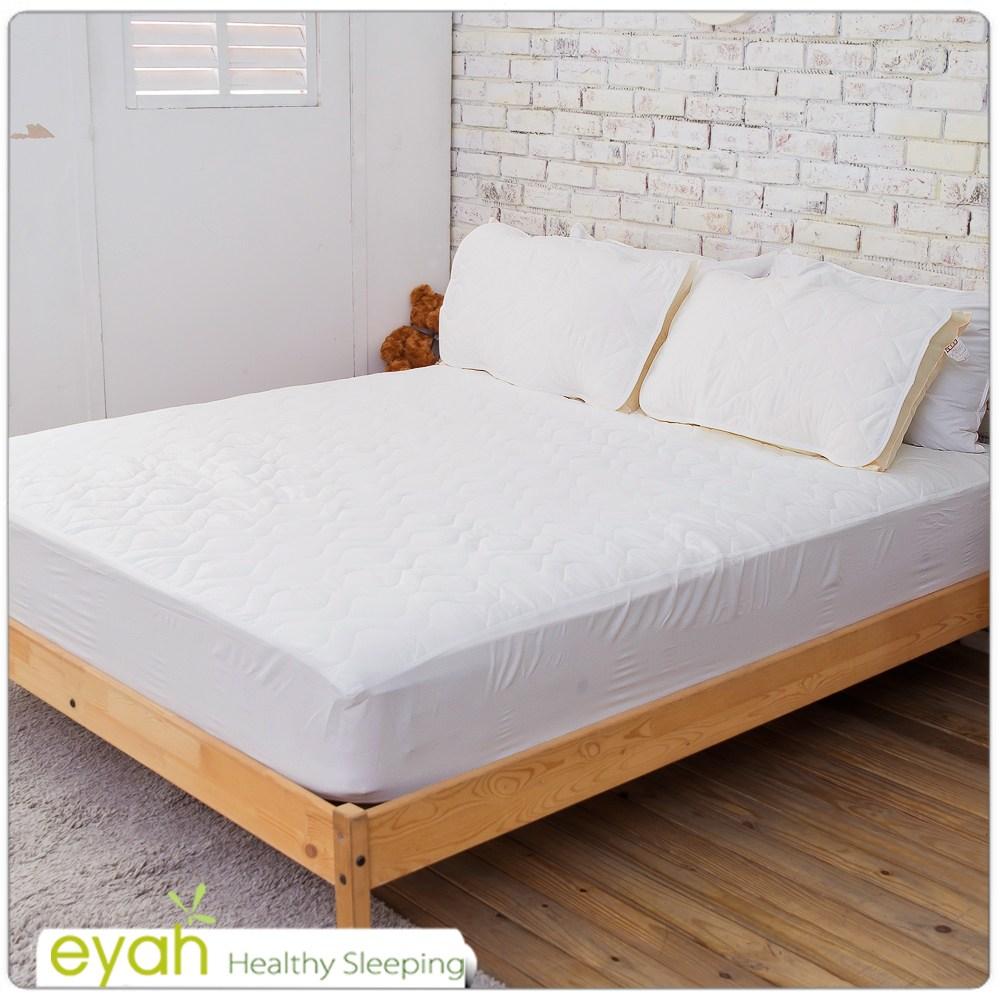 【eyah】台灣製純色加厚舖棉保潔墊床包式雙人特大-純潔白