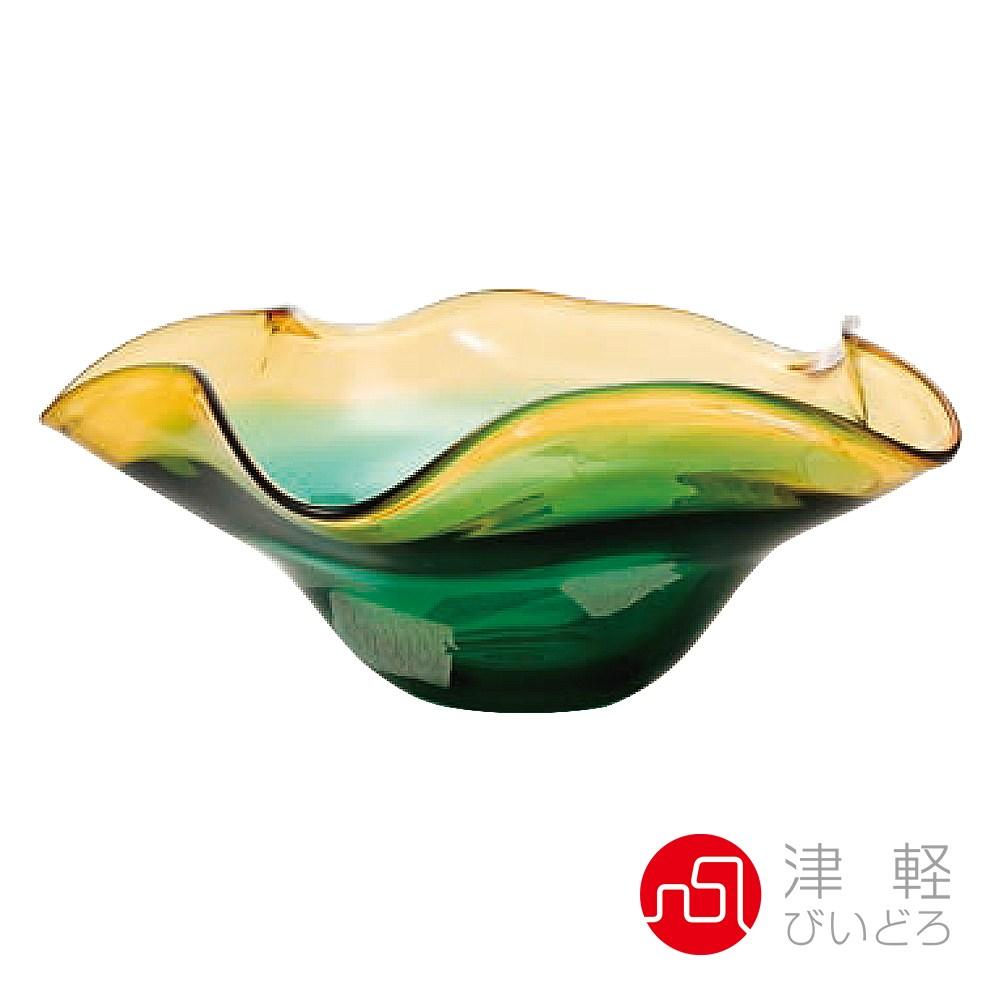 日本津輕 手作波浪琉璃花缽
