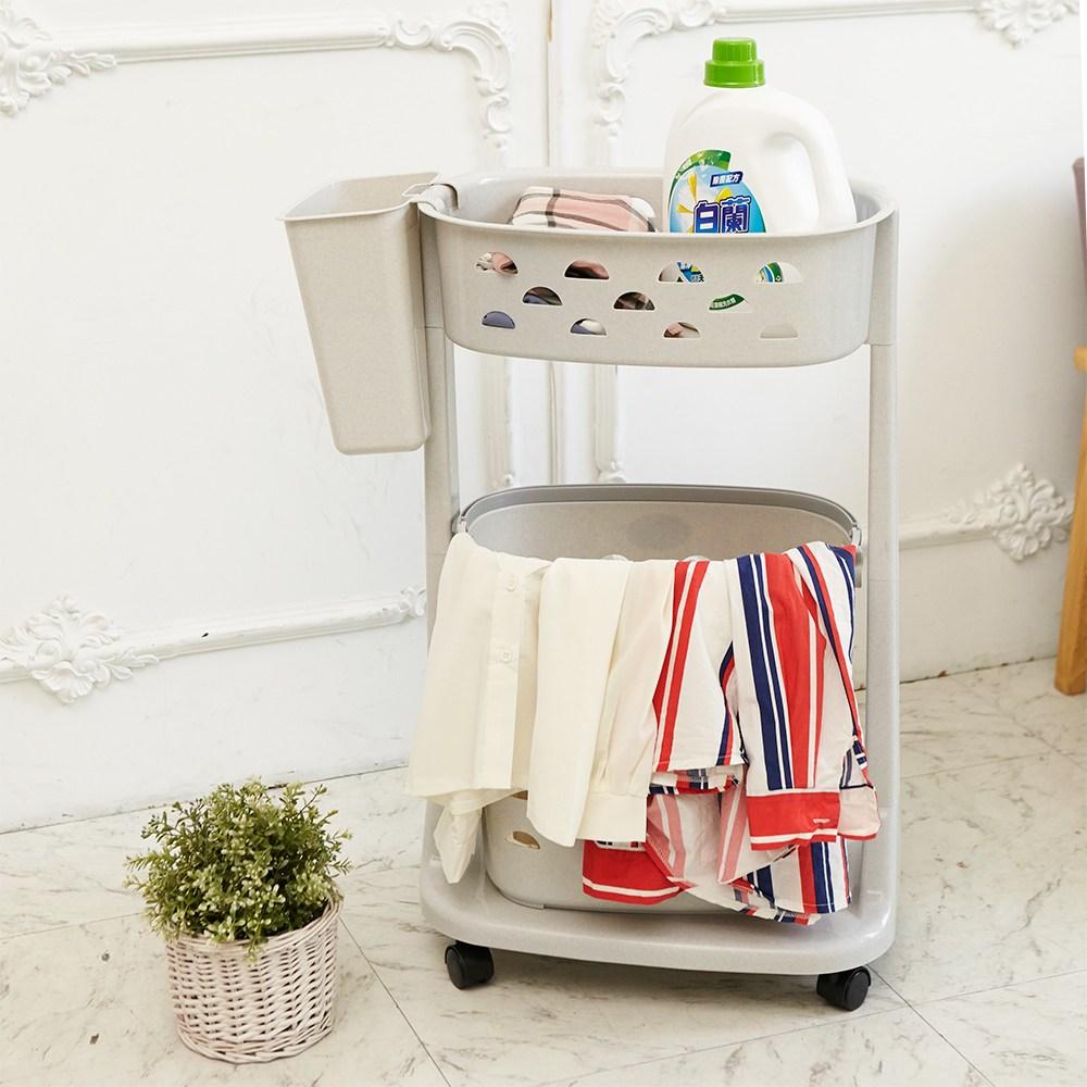【H&R安室家】可移式上下雙層洗衣籃-BNF22