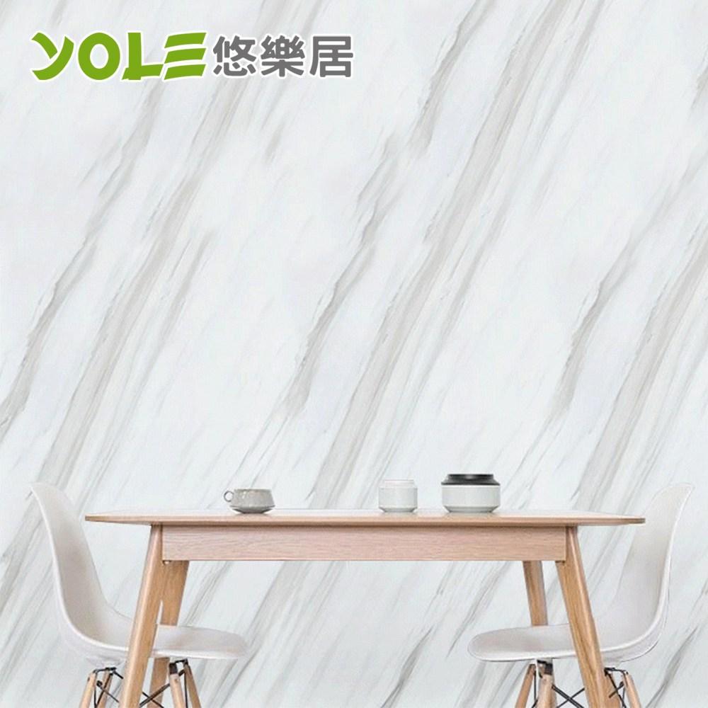 【YOLE悠樂居】廚房自黏耐高溫防汙防油加厚壁貼-石紋(爵士白)