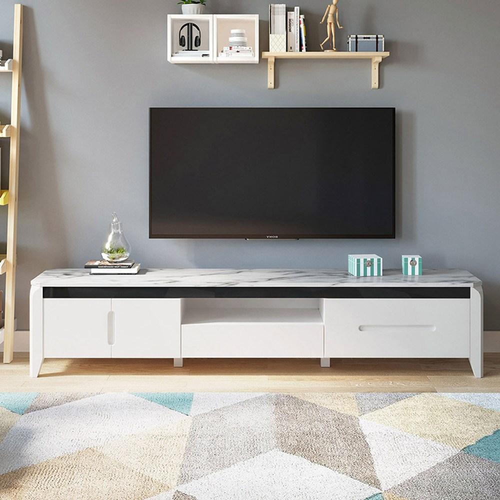 林氏木業現代風大理石紋電視櫃 LS058 -白黑色