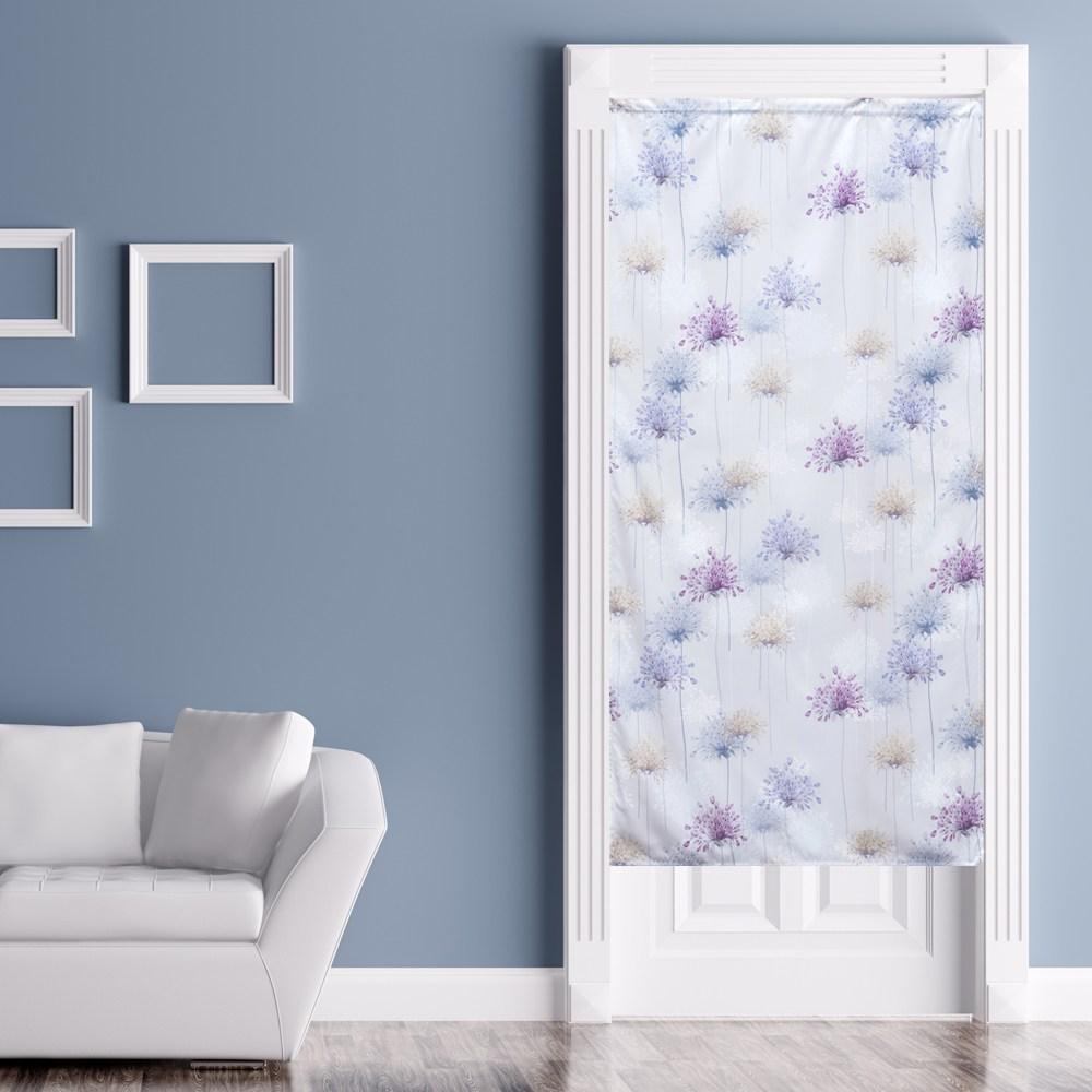 花團錦簇印花風水簾 88x176cm 粉紫色