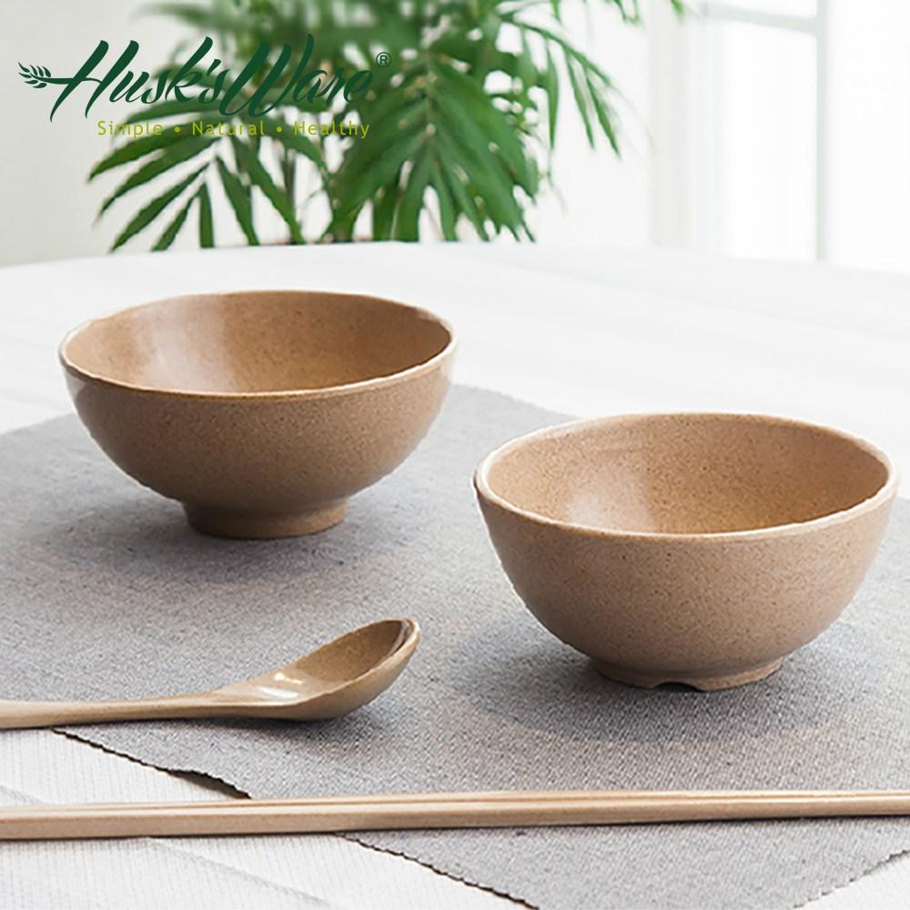 美國Husk's ware 稻殼天然無毒環保餐碗筷組(6碗6筷)