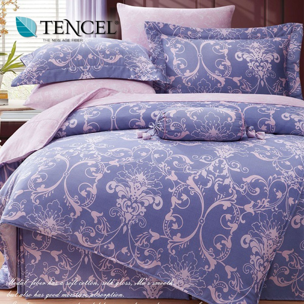 【貝兒居家寢飾生活館】100%天絲全鋪棉床包兩用被四件組(雙人/淡淡愛戀藍)