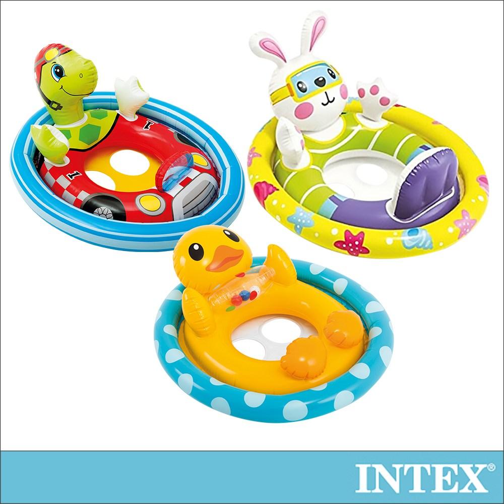 INTEX 造型幼兒坐式充氣泳圈-3款造型可選(59570)烏龜