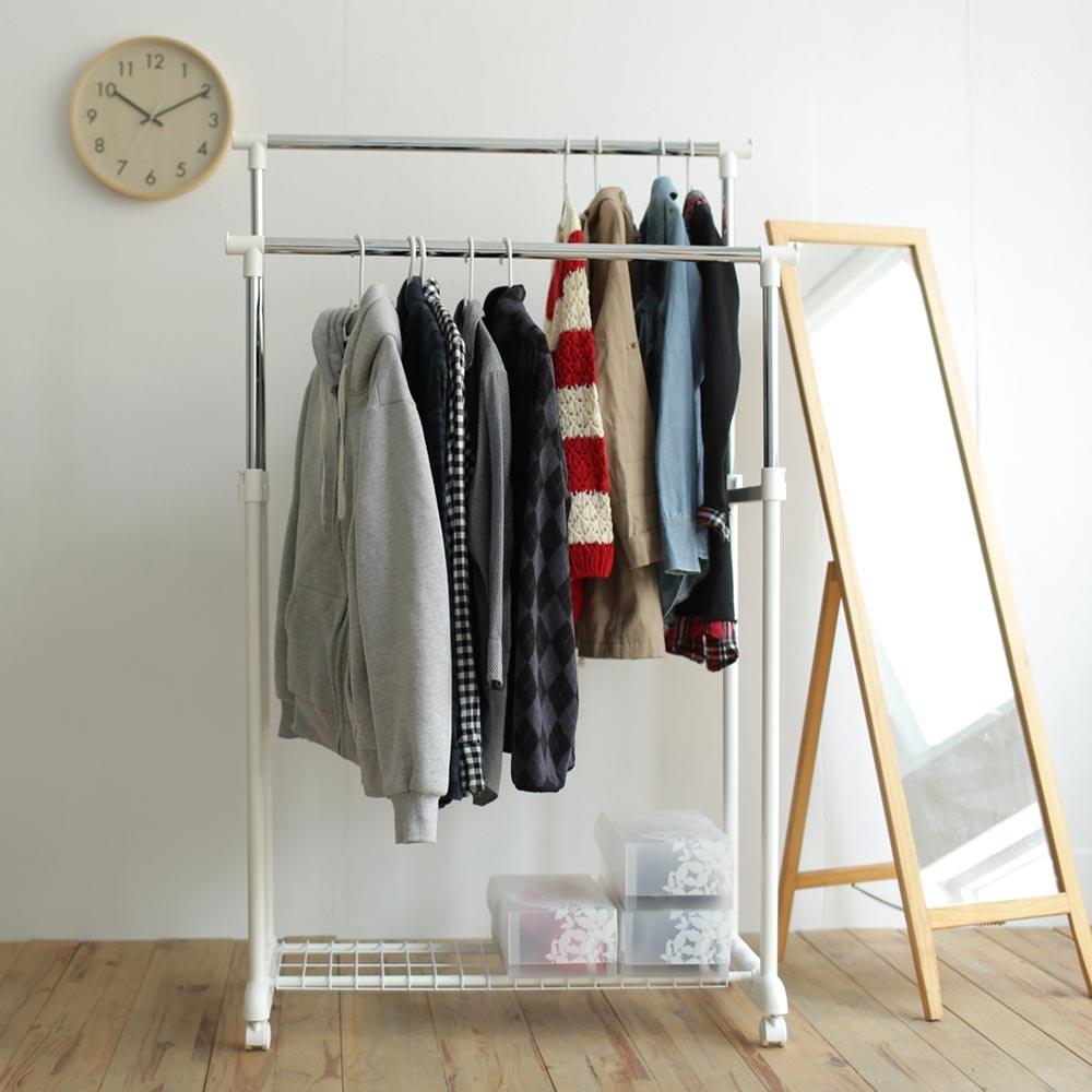 馬卡龍色系雙桿衣架(3色) H0008 完美主義日系米白