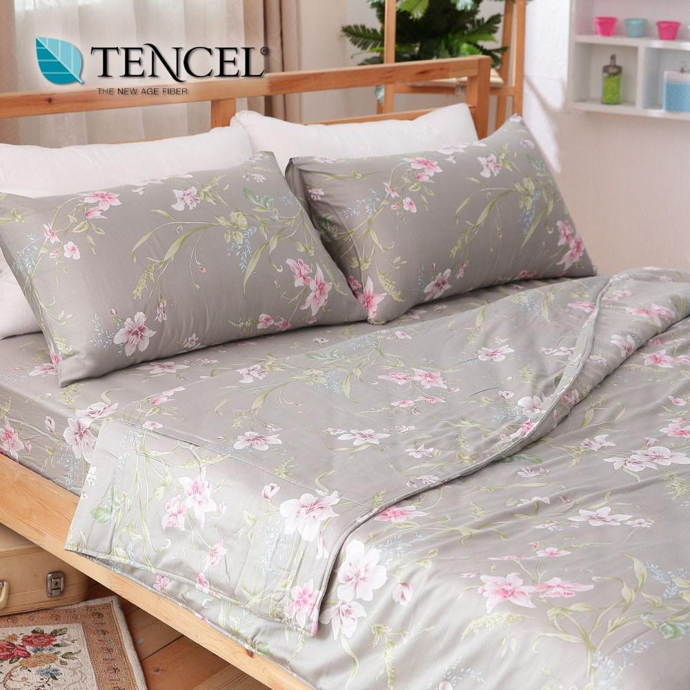 【貝兒居家寢飾生活館】100%萊賽爾天絲兩用被床包組(特大雙人/寧香)