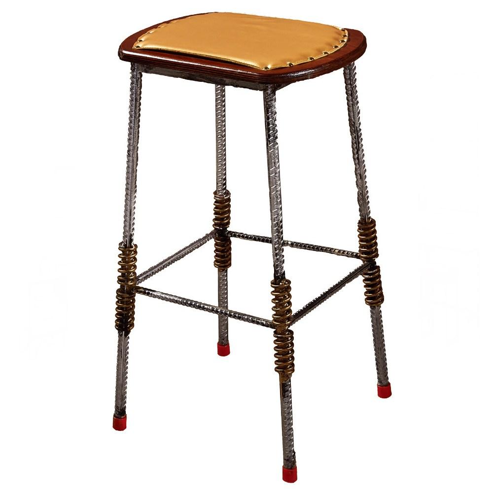 伍德鋼筋皮面吧台椅