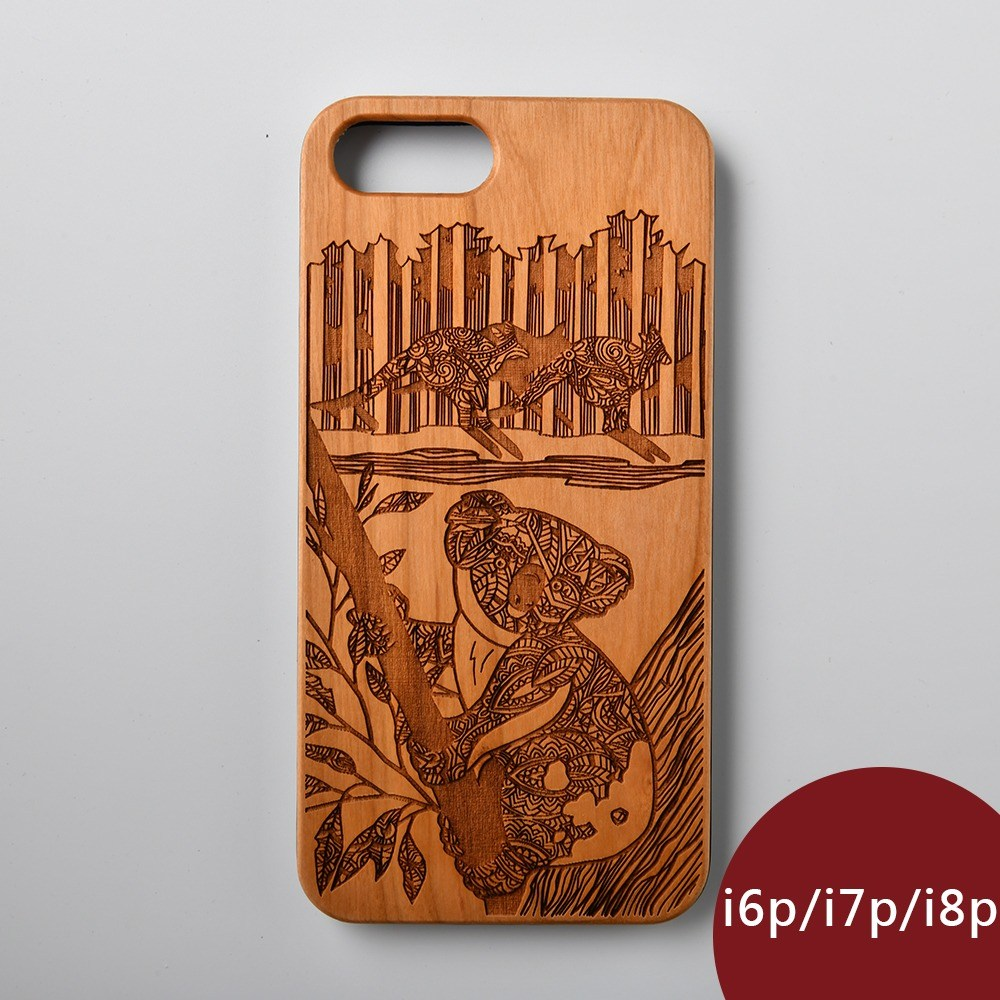 Woodu木製手機殼萌系無尾熊iPhone i6i7i8Plus適用