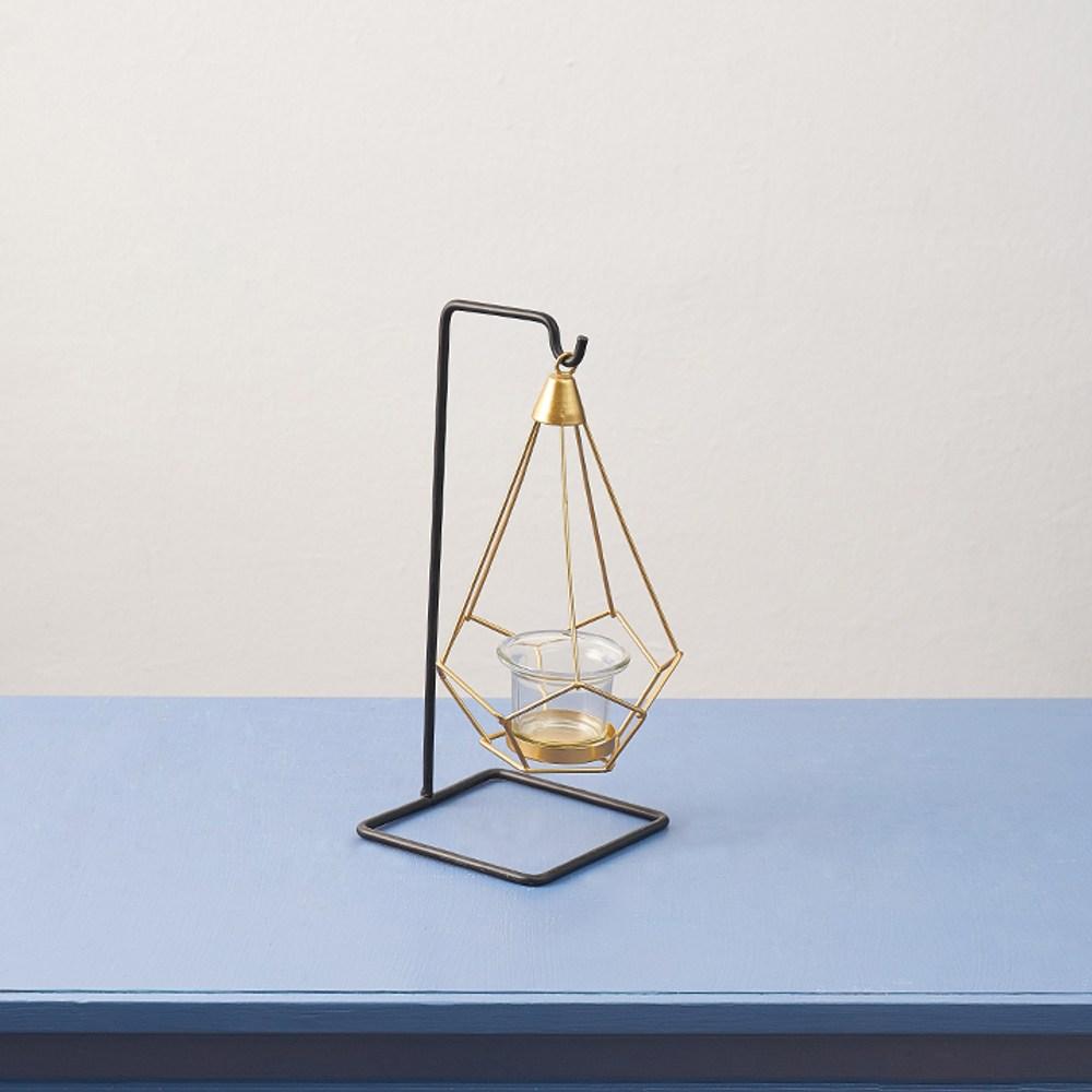 輕奢金屬風吊掛單燭台-附燭杯-高24.5cm