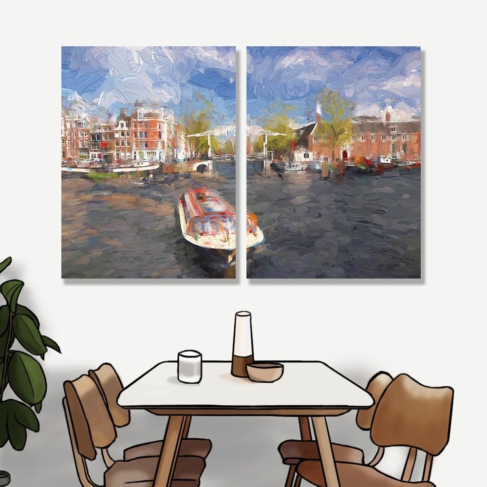 【24mama 掛畫】二聯式油畫布無框畫 30x40cm-阿姆斯特丹港油畫布無時鐘
