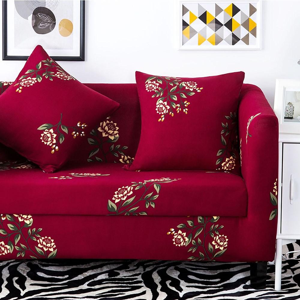 挪威森林 文藝復興舒適彈性沙發套/沙發罩/單人座_贈一個抱枕套