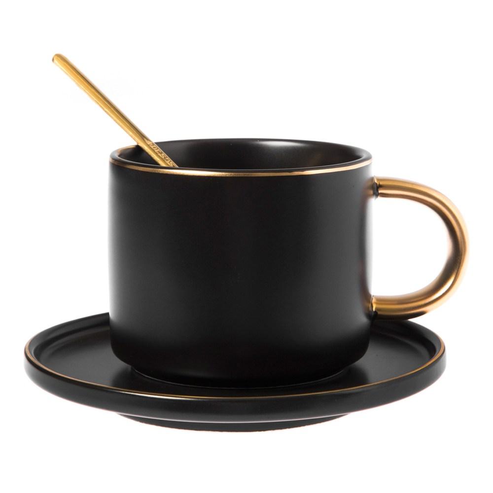 霧光描金杯碟組 200ml 不銹鋼匙附屬 黑色款