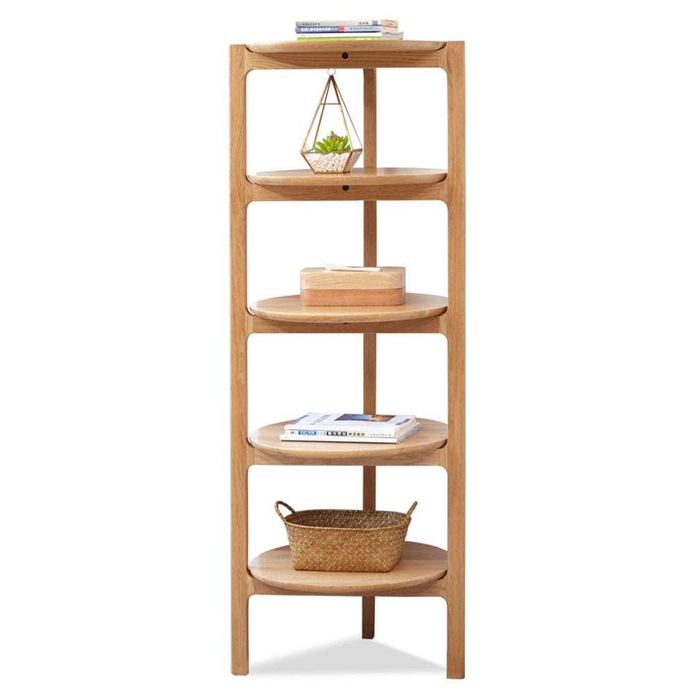原木日式和風白橡木實木圓盤形五層置物架w0122