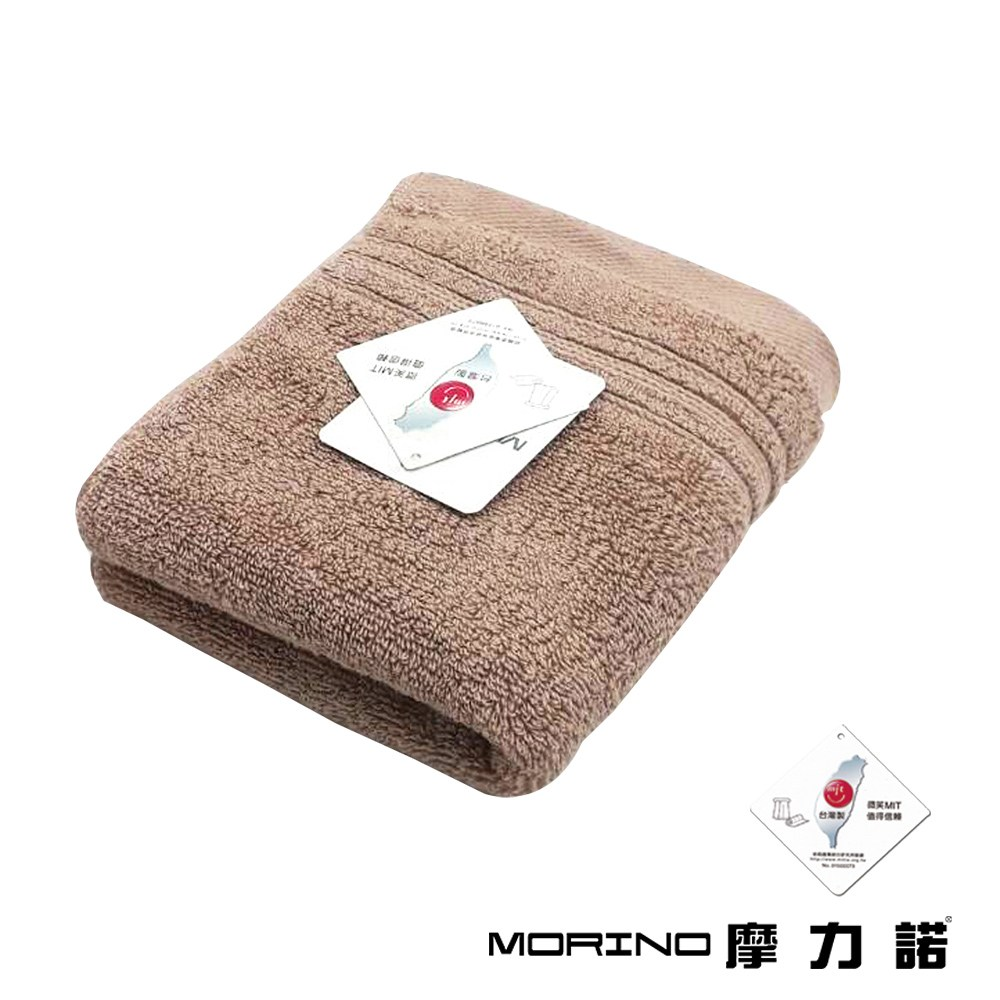 MORINO飯店級素色緞條毛巾2件組-卡其