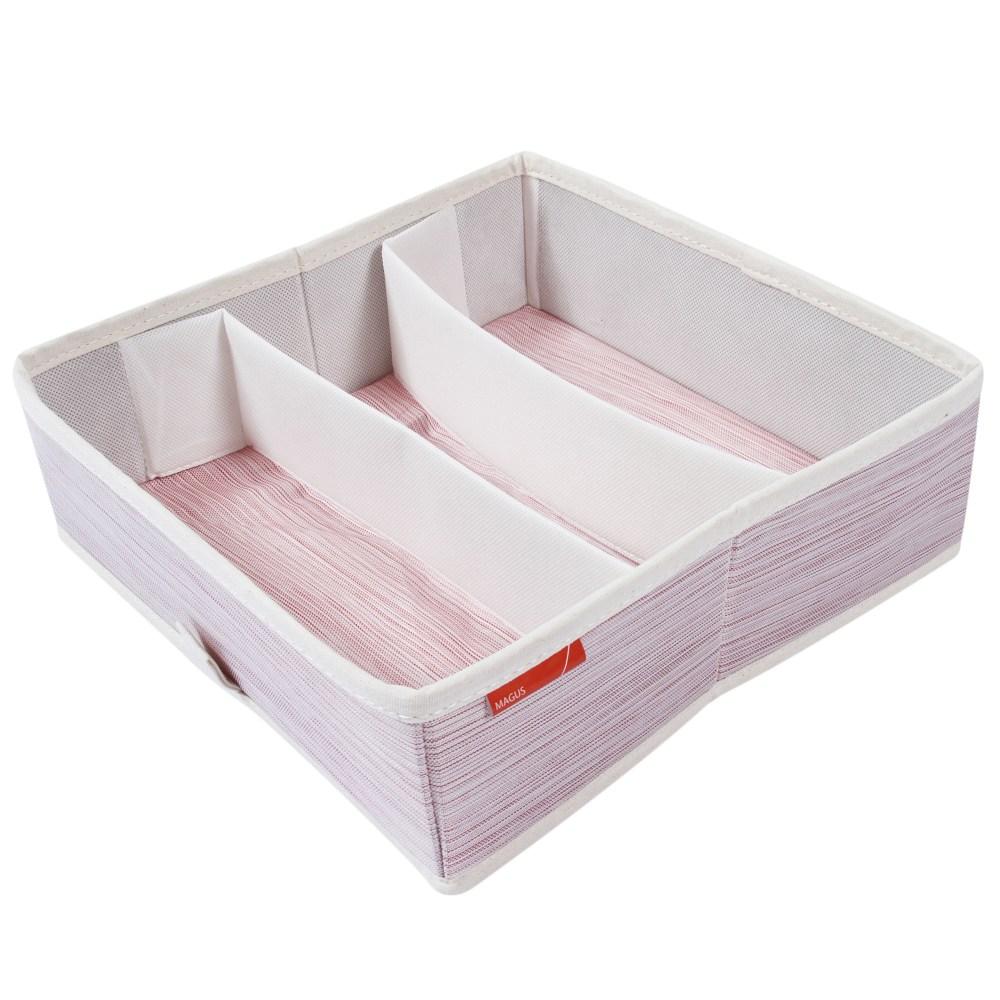 芙蘿三格抽屜盒 粉色款 28.5x28.5x9.3cm