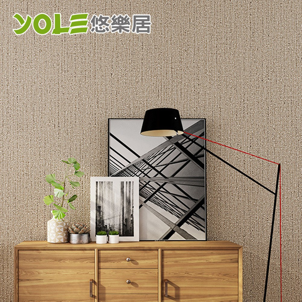 【YOLE悠樂居】客廳臥室自黏防水仿麻布壁紙壁貼-卡其(6m)