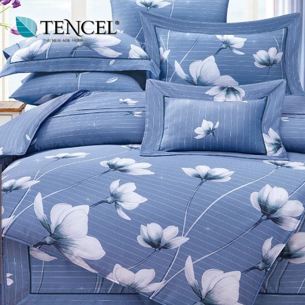 【貝兒居家寢飾生活館】60支頂級天絲銀纖維兩用被床包組(雙人/曼蒂尼)