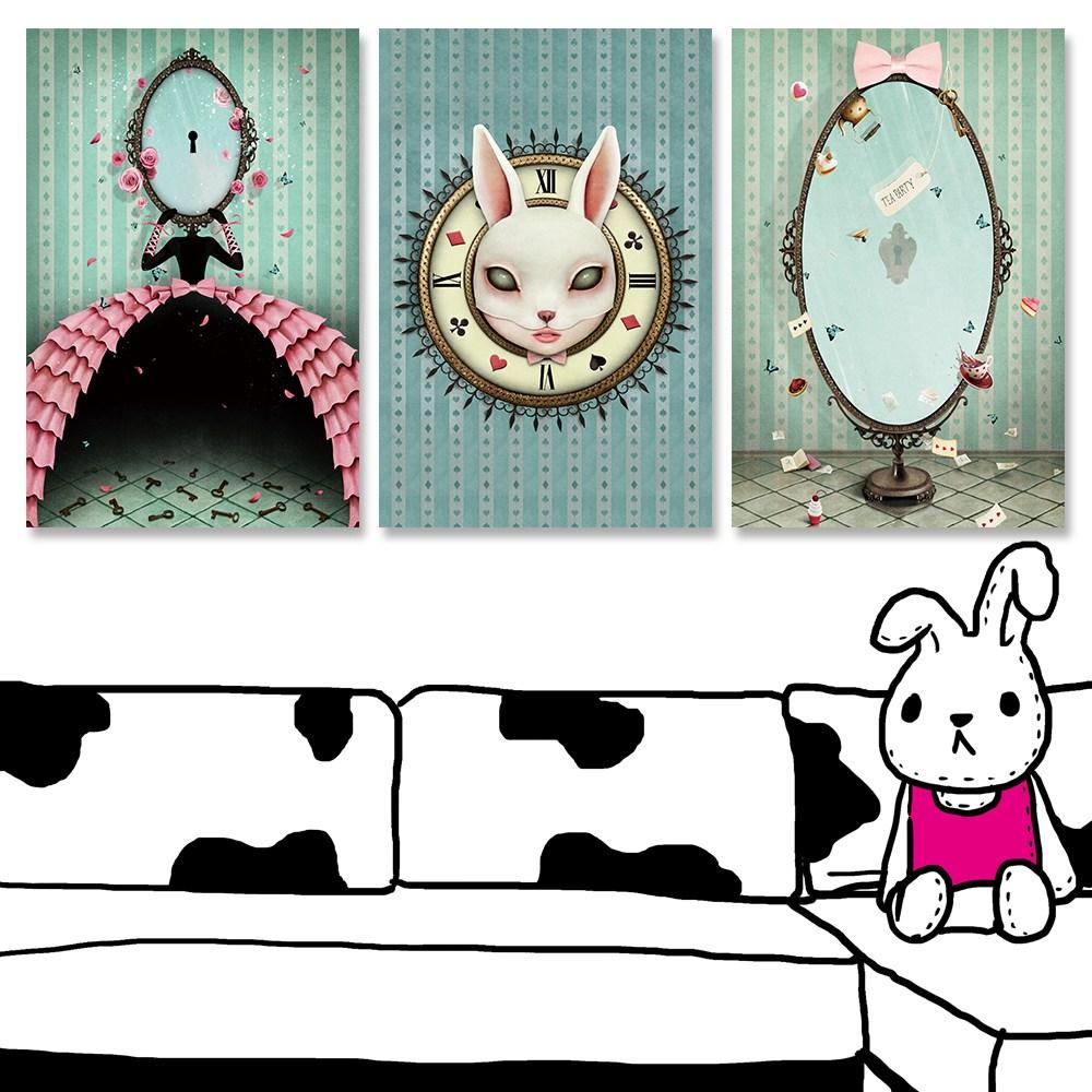 【24mama掛畫】三聯式油畫布無框畫 40x60cm-面具兔女與鏡子油畫布無時鐘