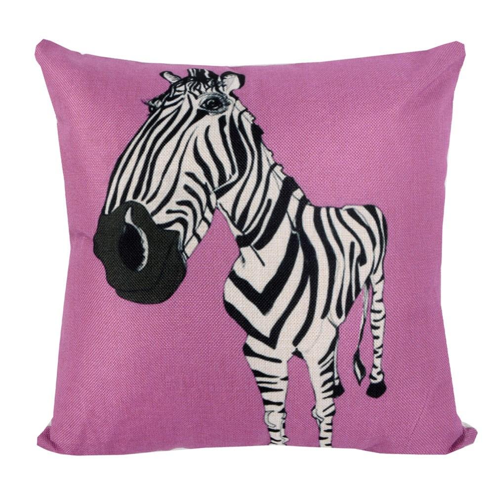 動物家族 棉麻舒適方型抱枕.靠枕_淺紫斑馬