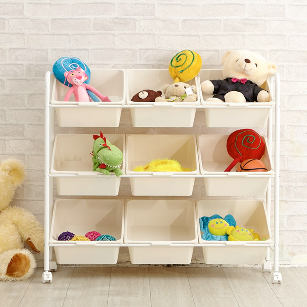 【H&R安室家】無印純白9格玩具車-BN115