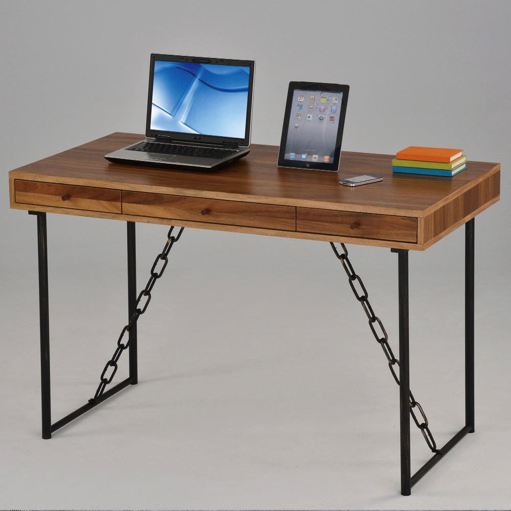 卡斯特4尺淺胡桃三抽鐵鍊書桌