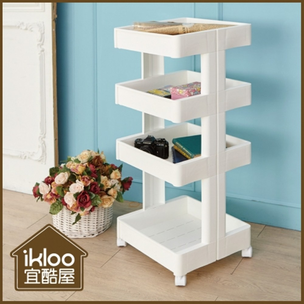 【ikloo】簡約四層收納置物籃/推車