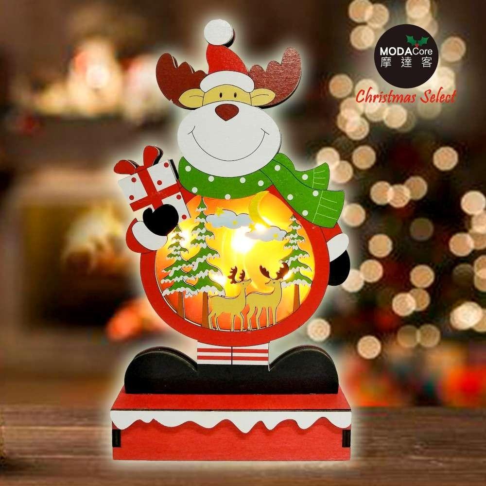 摩達客木質製彩繪麋鹿造型聖誕夜燈擺飾(電池燈)