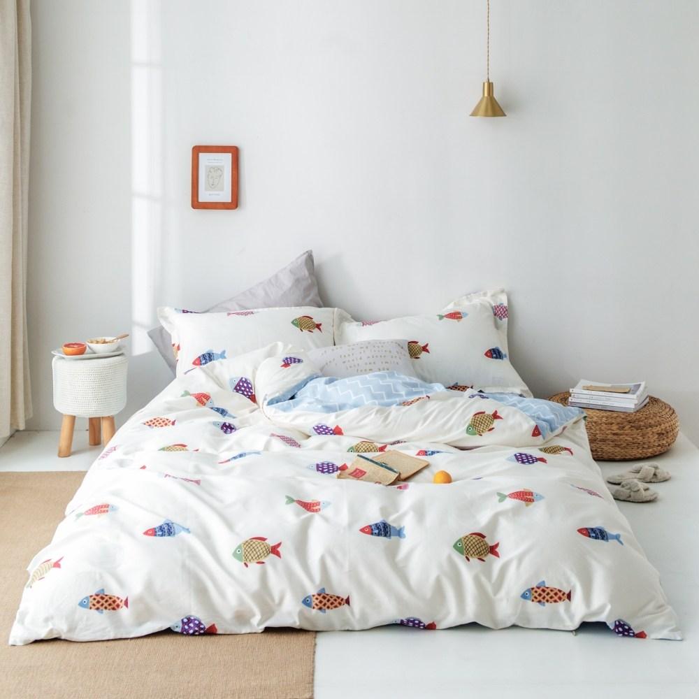 【eyah】台灣製200織精梳棉單人床包雙人被套三件組-韓國彩魚