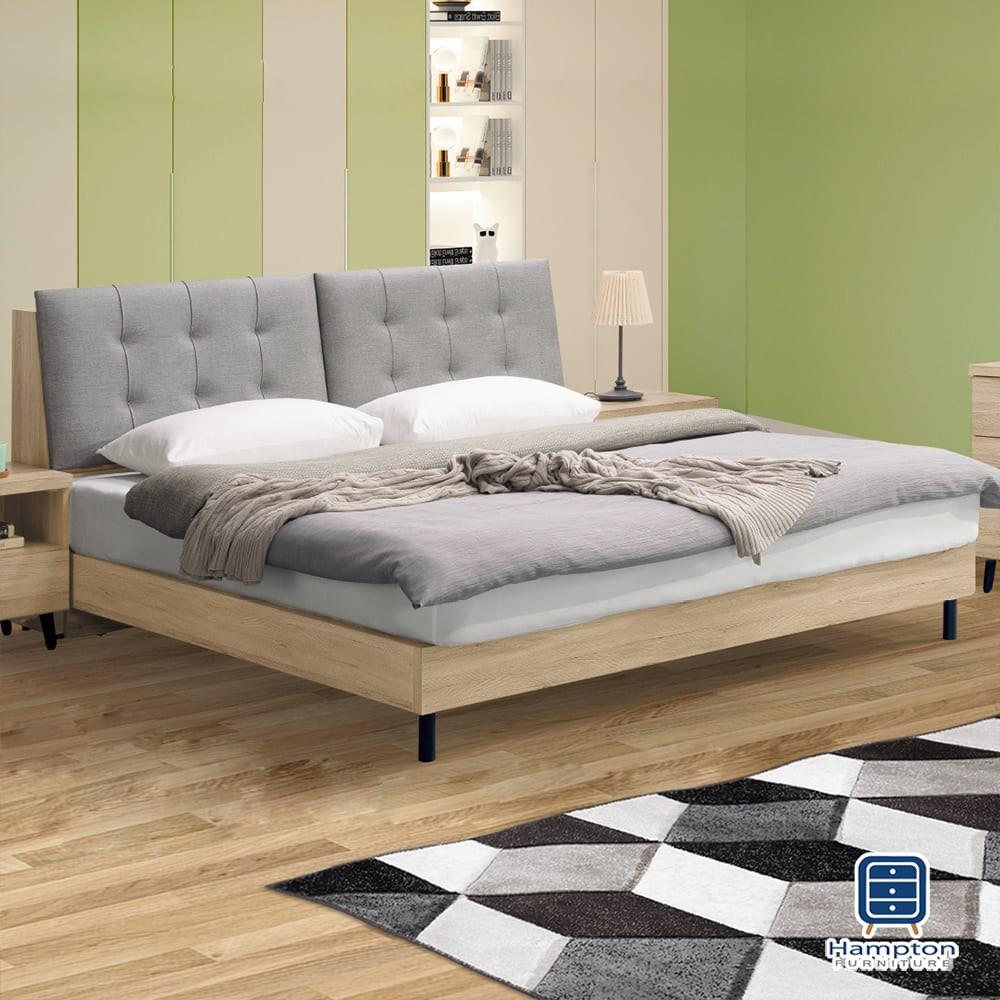 【Hampton 漢汀堡】諾克斯橡木貓抓皮6尺床組-床頭箱組