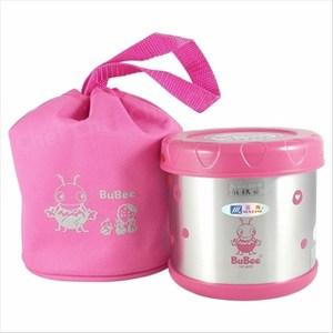 三光牌溫心不鏽鋼保溫便當盒0.5L附提袋 粉紅色