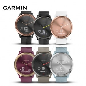 GARMIN vivomove HR 運動款 指針智慧手錶 敲敲系列黑色玫瑰金黑 (小/中