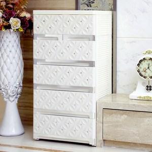 【收納+】歐式質感立體雕花面板五層抽屜收納櫃-DIY附輪鑲嵌銀