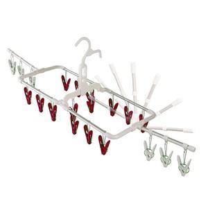 日本AISEN鋁合金2段式20夾曬衣架(紅色曬夾)