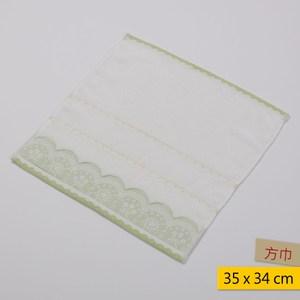 粉彩蕾絲方巾 35x34cm-綠色