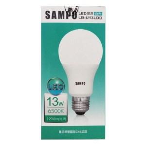 聲寶 SAMPO 13W高功率LED燈泡(白光) 1入