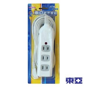 東亞 一燈四插座過載保護電源延長線 15尺 TY-108-15尺
