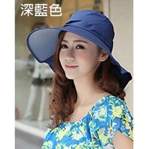 【Lovis 拉維斯】涼感護頸可折防曬帽-A款-深藍