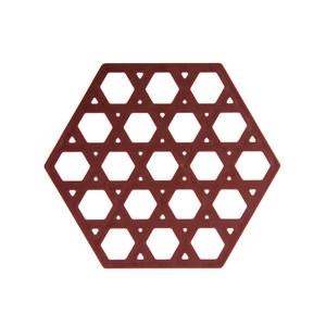 HOLA 北歐幾何六角造型橡膠鍋墊-咖啡
