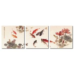 24mama掛畫-三聯式 九魚圖 荷花 中國風 水墨風無框畫-30x30cm