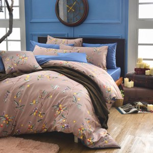 MONTAGUT公爵的金桔茶-260織精梳棉-兩用被床包組(咖啡-雙人
