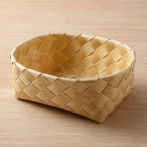 北歐木紋橢圓型編織籃W31 奶油色