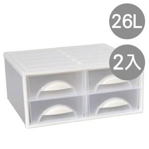白水單層抽屜收納櫃(四抽)-2入
