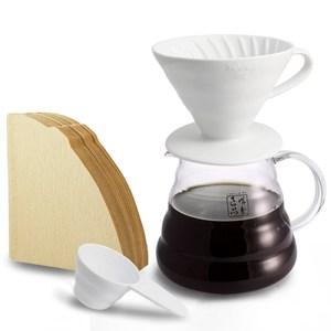 【HARIO】4人份陶瓷濾杯及濾紙100張+誠製良品 雲朵咖啡壺650