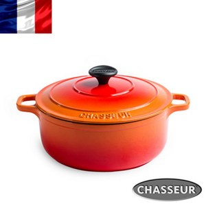 法國【CHASSEUR】獵人琺瑯鑄鐵圓彩鍋22cm(火燄橘)