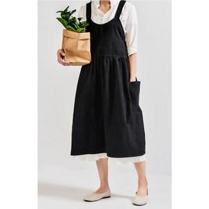 【三房兩廳】高腰居家工作服圍裙/花店/咖啡店/廚房圍裙(黑色)