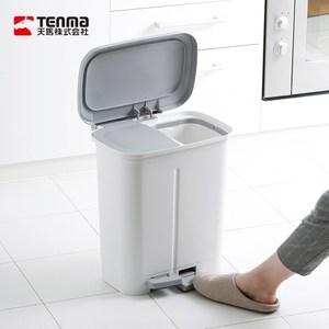 【日本天馬】dustio分類腳踏抗菌雙蓋垃圾桶(寬型)-20L白灰