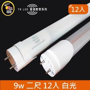 HONEY COMB LED T8-2尺9w 白光雷達感應燈管 12入