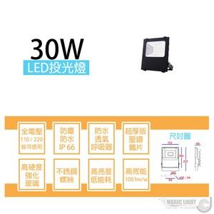 【光的魔法師】LED戶外防水投射燈 投光燈〔30瓦〕全電壓 白光